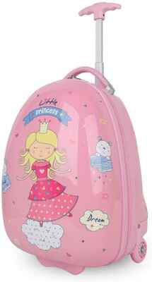 #8. NEWCOM PC+ABS 16'' Upright Cartoon Printed Hard Shell Kids Luggage w/Wheels for Girls