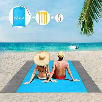 #6. ISOPHO Over-Sized Lightweight Waterproof Sand-Proof Beach Blanket for Travel w/Bag