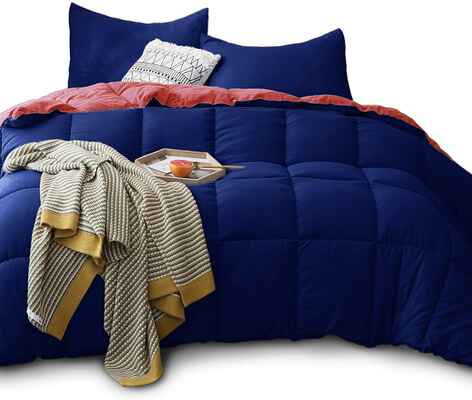 #4. KSENTEX Navy/Coral Twin All-Season Reversible Duvet Down Alternative Quitted Comforter