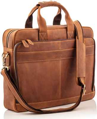 #2. Luxorro Top Grain First-Grade Laptop Bag Messenger Leather Briefcases for Men w/Padded Case