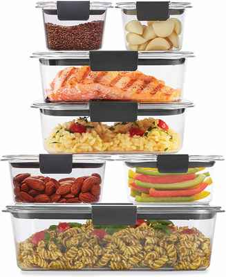 #7. Rubbermaid 14-Pcs 2108377 Brilliance BPA-Free Leak-Proof Clear Food Storage Container