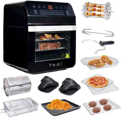 #5. GoWISE 12.7Qt 15-in-1 1600W 3-Piece Air Fryer Oven w/Dehydrator & Rotisserie