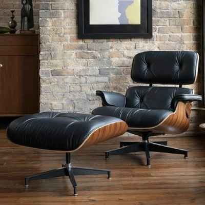 #7. Rimdoc Top Grain Leather Mid-Century Lounge Chair with Ottoman (Black Wood Palisander)