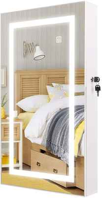 #2. HollyHOME Touch Screen LED Light Armoire Wall Mount Lockable Jewelry Cabinet (White)