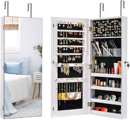 #8. Sunix Jewelry Cabinet w/Mirror Wall Lockable Jewelry Armoire holder Storage Cabinet (White)