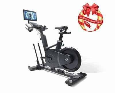 3. Flywheel Home Built-in Tablet Sleek Handlebar Settings Exercise Bike (2-free month's subscription)