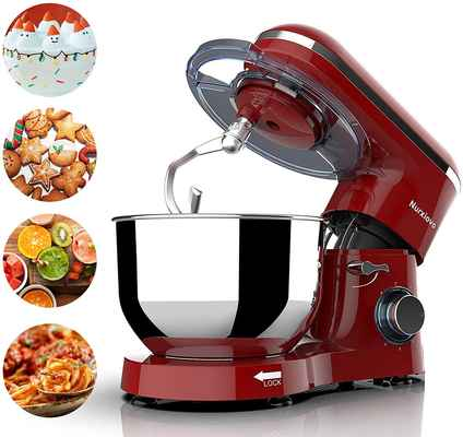#9. Nurxiovo 7QT 6-Speed 660W Stand Mixer w/Dishwasher Safe & Strong Suction Cups (Red)