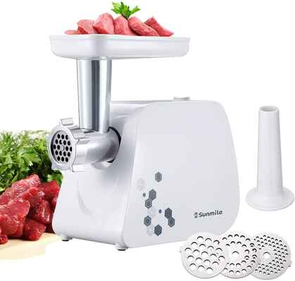 #8. Sunmile 1 HP 1000W Stainless Steel Cutting Blade Electric Meat Grinder & Sausage Maker (White)