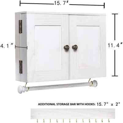 #6. Y&ME YM Wall-Mounted White Wood Jewelry Organizer w/Wooden Barn Door for Jewelry