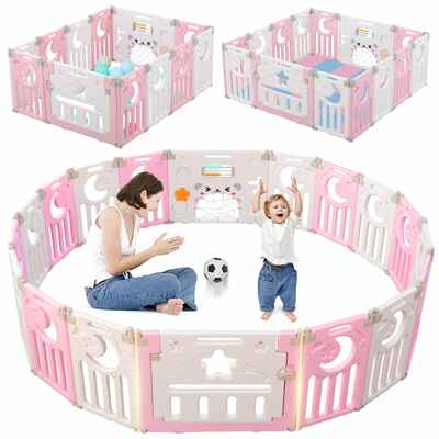 #2. Dripex 14 Panel Expandable Baby Fence Upgrade New Clip Foldable Playpen (Pink/White)