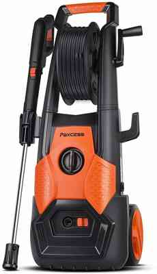 #6. PAXCESS 2150 PSI Hose Reel Adjustable Nozzle 1.85 GPM Electric Pressure Power Washer (Orange)