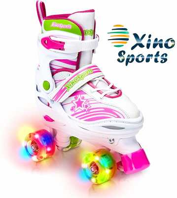 #8. Xino Sports Fun Illuminating Wheels Adjustable Kids Roller Skates for Girls & Boys Age 5-20