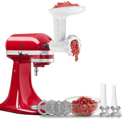 #8. KitchTree 4 Grinding Plates Food Grinder Attachment for KitchenAid Stand Mixers (White)