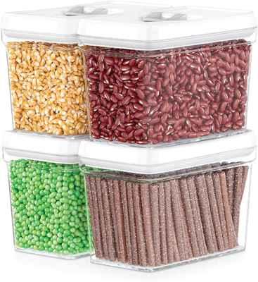 #3. DWELLZA Kitchen Pantry Snacks Baking Supplies 4 Pcs Same Size Airtight Food Storage Container