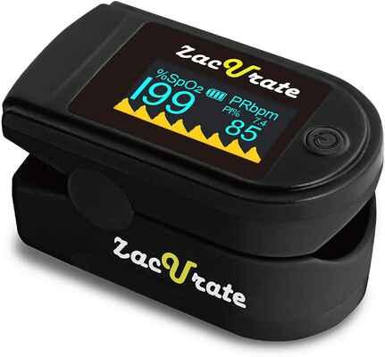 #5. Zacurate 500C Pro Series Deluxe Fingertip Pulse Oximeter w/Silicon Cover (Coal Black)