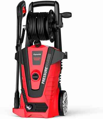 #5. Flymetal 3500 PSI 2.2 GPM Hose Reel & Adjustable Nozzles Electric Pressure Washer (Red)