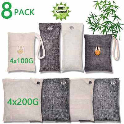 #5. WayWay 8-Pcs Bamboo Charcoal Air Purifying Bag 200g 100g for Car Air Purification