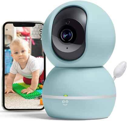 #4. GEENI PASTEL BLUE 1080P Wireless Wi-Fi Smart Baby & Pet Monitor w/Camera & Sound Alert