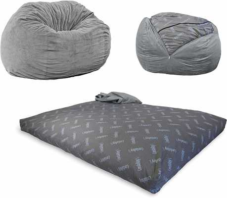 #2. CordaRoy's Convertible from Bean Bag to Bed Full Size Chenille (Charcoal)