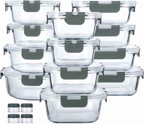 #6. M MCIRCO 24-Pcs Snap Locking Lids Airtight Lunch Containers Glass Food Storage Containers