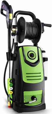 #9. Naabet 3800 PSI 2.8 GPM with Soap Bottle & Hose Reel Electric Pressure Washer (Green)