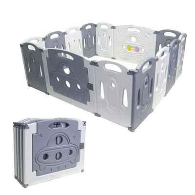 #9. Gupamiga Indoor Outdoor Safe Playard Activity Center Foldable Baby Playpen (Grey)