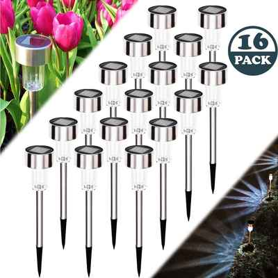 #7. Meykers 16 Pack Waterproof Wireless Outdoor Solar Light for Pathway Garden Driveway