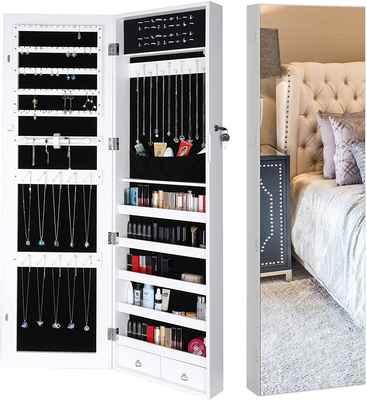 #7. Homfa Full-Screen Display Door Mounted Jewelry Organizer w/5 Shelves & 2 Drawers (White)