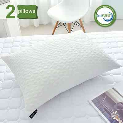 #3. SORMAG 2 Pack Bamboo Cooling Adjustable Shredded Memory Foam Pillow for Sleeping