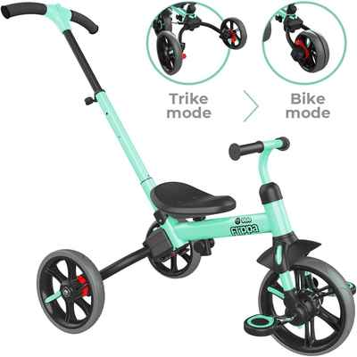#5. Yvolution 4-in-1 Ages 2 – 5 Years Removable Pedals Y Velo Flippa 4-in-1 Toddler Trike