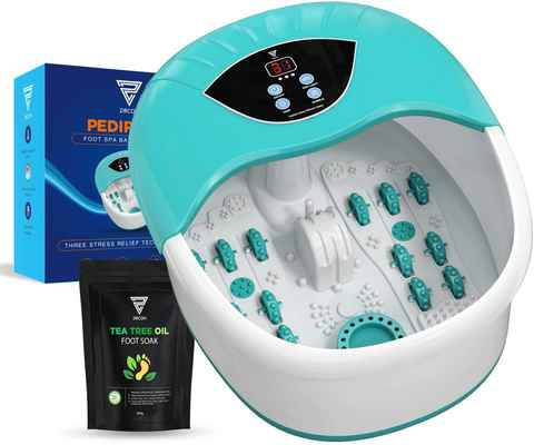 #6. Zircon 4 Massaging Rollers Temp & Heat Control Intense Vibration Pedicure Foot Spa Massager