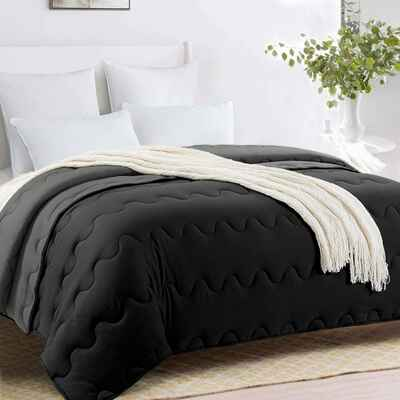 #10. HOMBYS King Navy Blue Soft Hypoallergenic Lightweight Machine Washable All-Season Comforter