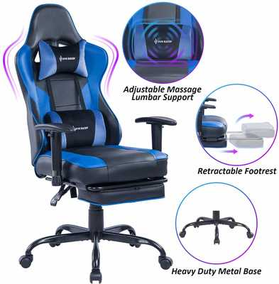 #9. VON RACER High-Back Swivel Leather Chair with Adjustable Armrests Gaming Chair (Blue/Black)