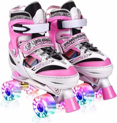 #5. Kuxuan All Wheels Fun Light-Up Doodle Design Adjustable Roller Skates for Girls & Ladies