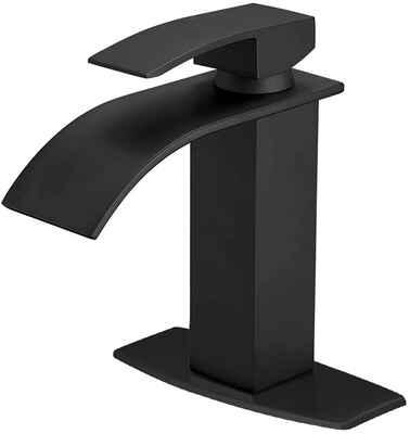 #9. BESY Brass/Matte Black Single Handle Black Waterfall Spout Bathroom Vanity Sink Faucet