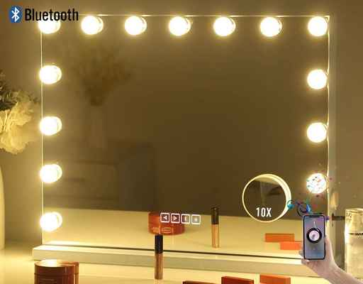 #2. HANSONG Wall Mounted Large Bluetooth Vanity Makeup Mirror w/Lights