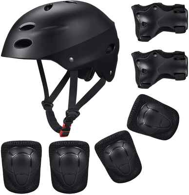 #8. KUYOU Helmet Wrist Pads Elbow & Knee Pads Protective Gear Set for BMX Scooter & Skating
