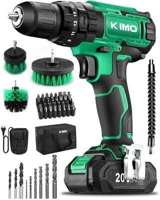 #9. KIMO 3/8'' Concrete Wood Variable Speed 20 Impact Drill Set 350lbs Keyless Chuck Driver Kit