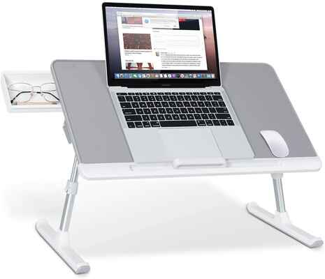 #1. SAIJI PVC Leather Adjustable Bed Tray Table Portable Standing Desk (Large, Grey)