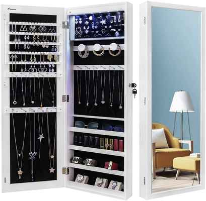 #10. Nicetree 6 LEDs Wall/Door Mounted Jewelry Armoire Organizer w/Full-Length Mirror (White)