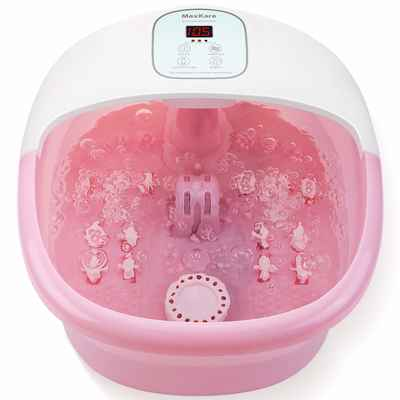 #8. MaxKare Pink 14 Massage Rollers Adjustable Temp Foot Spa/Bath Massager w/Heat Bubbles
