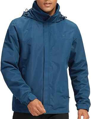 #4. CAMEL CROWN Waterproof Lightweight Unisex Windbreaker Outwear Hooded Raincoat