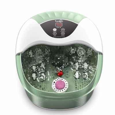 #9. Turejo 14 Ergonomic Massage Rollers Digital Temp Control Red Light Foot Bath Massager