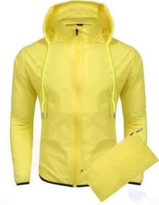 #3. COOFANDY Waterproof Lightweight Packable Unisex Waterproof Hooded Cycling Raincoat