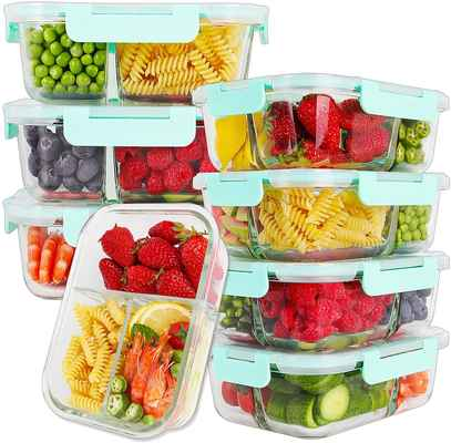 #7. BAYCO 8 Pcs BPA-Free & Leak-Proof Glass Airtight Glass 3 Compartment Food Storage Container