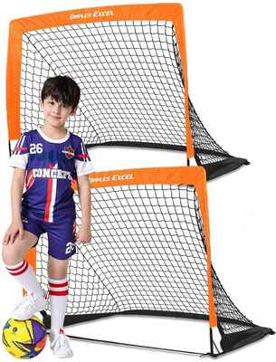 #2. Dimples Excel Set of 2 Kids Mini Soccer Goal Portable Foldable Pop-Up Soccer Goal Backyard for Kids