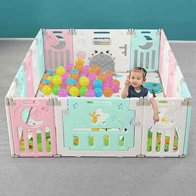 #4. WENYU 14-Panel Indoor Outdoor Baby Safety Foldable Playpen w/Activity Wall (White/Green/Pink)