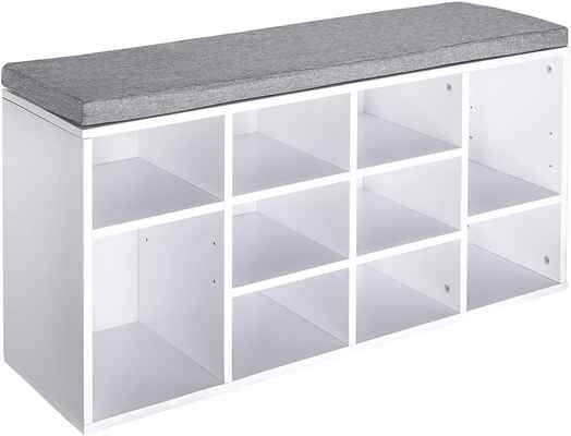 #3. Berry Ave Modern Space-Saving White 10 Shoe Rack Bench w/Padded Seat