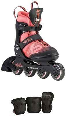 #2. K2 Skate Black/Coral Youth 11-2 Wheels Marlee Pro Cuff Pack Urban Inline Skates
