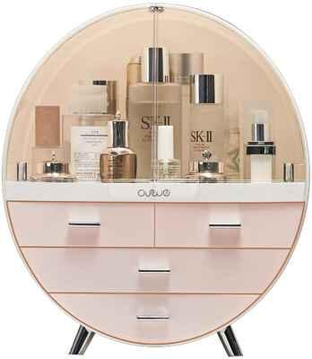 #2. Generic Large Pink Waterproof Dustproof Cosmetic Elegant Display Makeup Storage Organizer Box